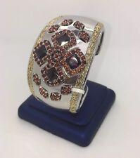 Sterling Silver 925 Red Garnet & Amethyst Cuff Bangle Womens  Gemstone Bracelet