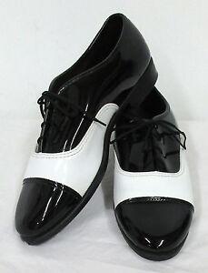Black & White Formal Tuxedo Shoes Spats Wedding Prom Costume Vintage Retro Mod