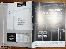 1961 MONOTUBE Pole LIGHTING Fixture Sign Post TRAFFIC Signal Union Metal Catalog