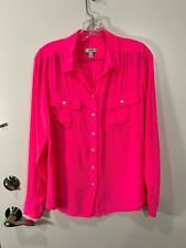 J.Crew Blythe Blouse Silk Shirt In Bright Hot Shocking Neon Pink Size 10T Nice !