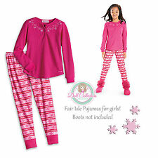 American Girl CL MY AG FAIR ISLE PAJAMAS SIZE XL(18-20) NEW Pink Pants PJ's