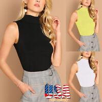 Women High Collar Stretch Slim Sleeveless Summer Casual Blouse T-Shirt Tank Tops