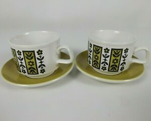 Staffordshire Potteries 2 x Cup & Saucer Sets Mustard Green Stackable Retro