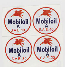 "MOBIL SAE OIL DECALS 10-20-30-40 3"" DIAMENTER"
