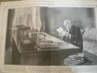 Prime Minister Sir Henry Campbell-Bannerman at work Downing Street 1908 print