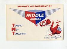 Vintage Airline Luggage Label RIDDLE AIRLINES Air Shipment kangaroo TNT