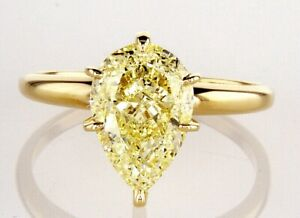 3CT Solitaire Diamond Ring 14K Yellow Gold Natural Pear Cut Fancy GIA Certified