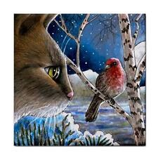 Cat 600 Bird winter Large Ceramic Tile 6x6 Made USA art painting LDumas