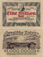 Banknote 1 Million Mark 1923 Stuttgart Baden-Württemberg WTB-18 Ro.778 P-S987