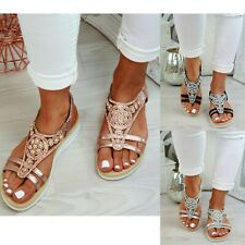 New Womens Ladies Flatform Sandals Wedge Embellished Comfy Summer Shoes Size 3-8