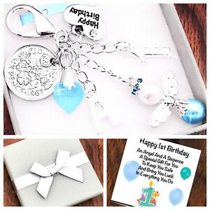 LUCKY SIXPENCE FIRST 1ST BIRTHDAY Gift BOY/GIRL PERSONALISED INITIAL, GIFT BOX
