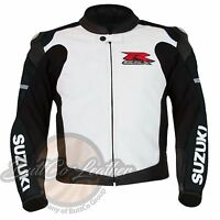 Suzuki 1078 Motorrad Biker Protektor Racing Real Schwarz Leder Motorradjacke