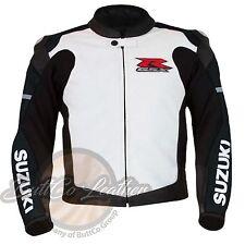 SUZUKI 1078 Motociclismo Negro Protector Carreras Chaqueta de piel auténtica