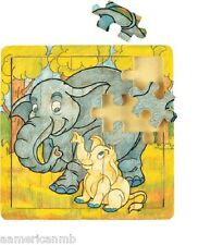 "ELEPHANTS 20pc Jigsaw Wood Puzzle 8""x8"" Educational Toy Wooden Wood Crafted Game"