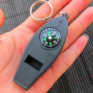 EDC Compass Whistle Thermometer Magnifier 4 in 1 Survival Emergency Camping