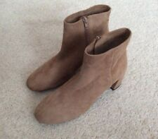 Ladies Unisa Karisa Kid Suede Leather Ankle Boots - Pale Brown/Beige-UK7 -New