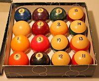 Vintage Belgium Billiard Pool Balls 2 1/4 Complete Set in Original Box