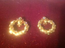 "Door Knocker Earrings Gold Plated 1.5"" Twist  ANNE KLINE SIGNED Clip On"