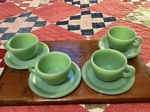 Vintage Fire-King Jadeite C Handle Coffee Cup & Saucers (Lot of 4)