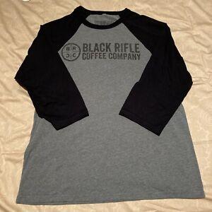 Men's Black Rifle Coffee Company Gray Black 3/4 Sleeves T-Shirt Size Large