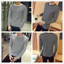 Summer Men's Fashion Round Neck Black White Stripe Long Sleeve Slim T-shirt Tops