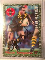 1995 AUS Rugby League Coca Cola Kangaroos Classic No6 Signed Greg Florimo C.O.A