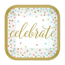 18 X Célébré Assiette en Papier Fête 18cm Doré Texte Pastels Confettis Amusant