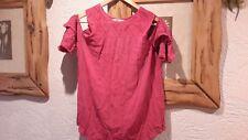 Cerise Pink Summer Cold Shoulder Top Size 10 Tu