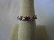 Sterling Silver Ruby  Ring Candy cane design with 5 real Rubies 925 size 8