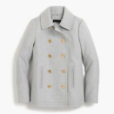 NWT- J Crew Andover Peacoat Coat in Italian Wool, Heather Silver Grey - Size 4