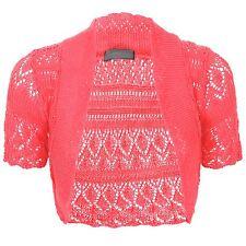 Womens Ladies Crochet Shrug Knitted Bolero Short Sleeve Ccardigan Top Size 8 26