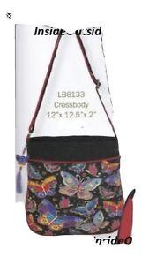 Laurel Burch Butterfly Mariposas CrossBody Med/Lg Tote Bag New