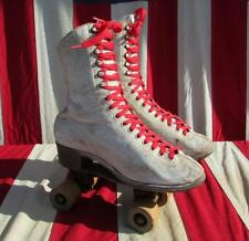 Vintage Chicago Hyde White Leather Womens Roller Skates Wood Wheels Antique 7.5