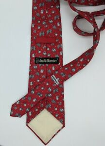 """Vintage Grand Marnier Red Silk Tie Made In France Gray Fruit Design 3"""" Width"""