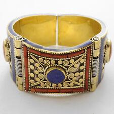 Coral Lapis Brass Bracelet Nepalese Tibetan Handmade Ethnic Tribal Nepal BR850