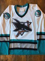San Jose Sharks - Vintage White Inaugural Home Jersey - OG CCM Maska - Size XL