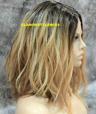 Human Hair Blend Bob Lace Front Full Wig Ombre Brown Golden Blonde Auburn Mix