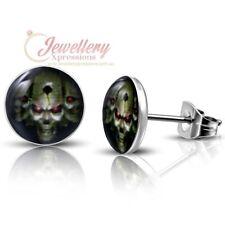 7mm | Stainless Steel 2-tone Warlord Alien Skull Circle Stud Earrings