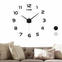 3D DIY Large Wall Clock Modern Mirror Surface Sticker Home Room Decor Frameless