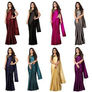 Pakistani Wear Ethnic Silk saree Designer Plain Simple Sari Blouse Wedding  SC