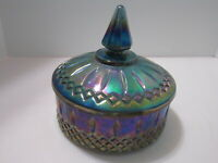Carnival Glass Candy/Vanity Dish Blue Purple Glass Vintage Covered Round