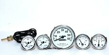 Willys MB Jeep Ford GPW CJ  Speedometer- Temp -Oil-Fuel- Amp Gauges  White Face
