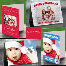 12 x Personalised Christmas Cards Merry Xmas Christmas Photo A6 Blank Inside