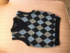 Boys Wool V-Neck Vest, Small(6-8), Navy, BrooksBrothers