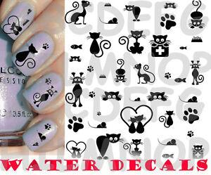WATER DECALS GATTO NERO CATS ZAMPE PAW UNGHIE NAIL ART STICKERS ADESIVI TATTOO