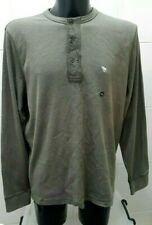 NEW Abercrombie & Fitch Mens Long Sleeve Henley Tee, Khaki Green XXL