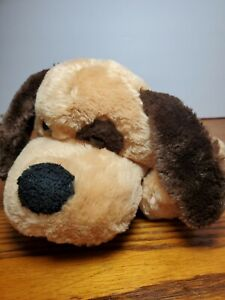Dan Dee Dog Puppy Plush Brown Eye Spot Patch Shaggy Dark Brown Ears puppet barks