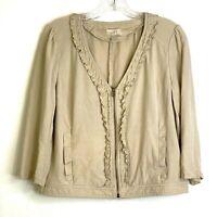 LOFT Ann Taylor Linen Blend Jacket Womens Size Medium Full Zip Tan Khaki Blazer