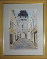 Aquarelle encadrée- La tour de l'horloge 40x50 cm- G.Pachet Micheneau