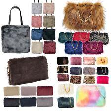 a0723945ad5c New Women s Soft Fluffy Faux Fur Winter Tote Clutch Bag Handbag Purse